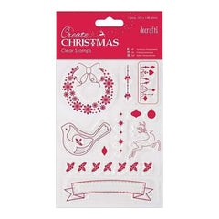 Papermania Create Christmas Mini Clear Stamps 4 Inch X6 Inch  Christmas Icons