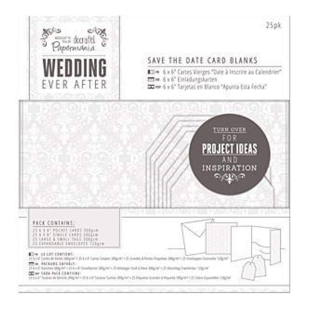 Papermania Ever After Wedding Blank Cards 25 Pack  White Damask Screen Print