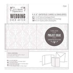 Papermania Ever After Wedding Cards  With Envelopes - Gatefold White Damask Screen Print