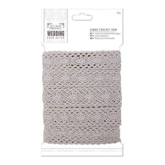 Papermania Ever After Wedding Crochet Trim 10M Silver 36Mm