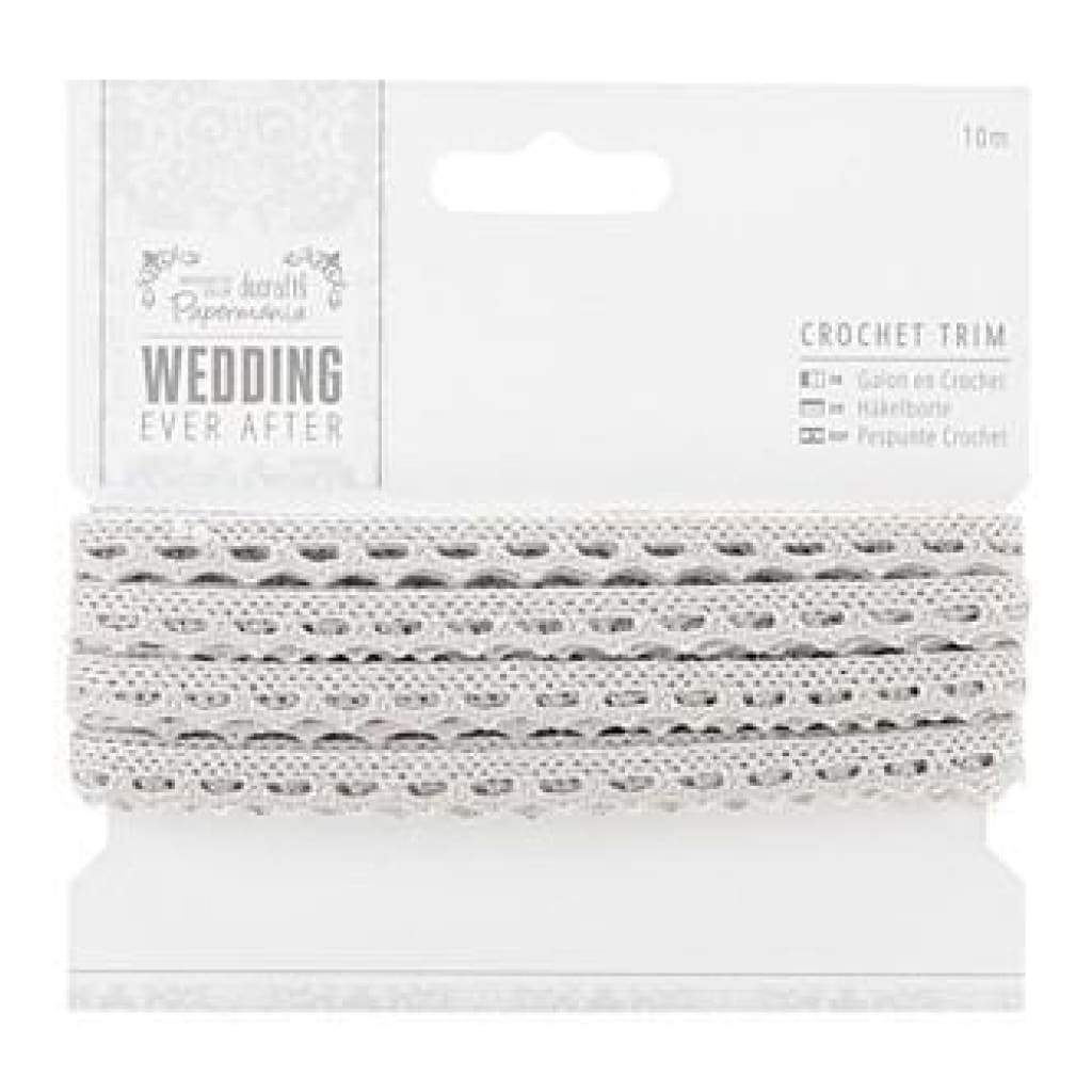 Papermania Ever After Wedding Crochet Trim 10M Silver 9Mm