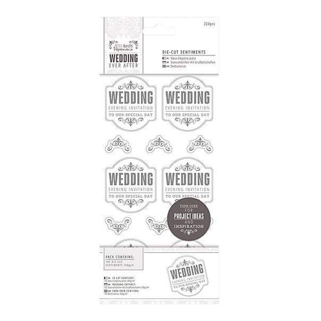 Papermania Ever After Wedding Die-Cut Sentiments - Evening Invitation Silver & White