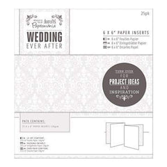 Papermania Ever After Wedding Paper Card Inserts - White Damask Screen Print