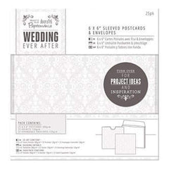 Papermania Ever After Wedding Sleeved Postcards - White Damask Screen Print