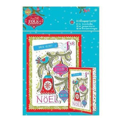 Papermania Folk Christmas Decoupage Card Kit A5 Noel Linen Finish