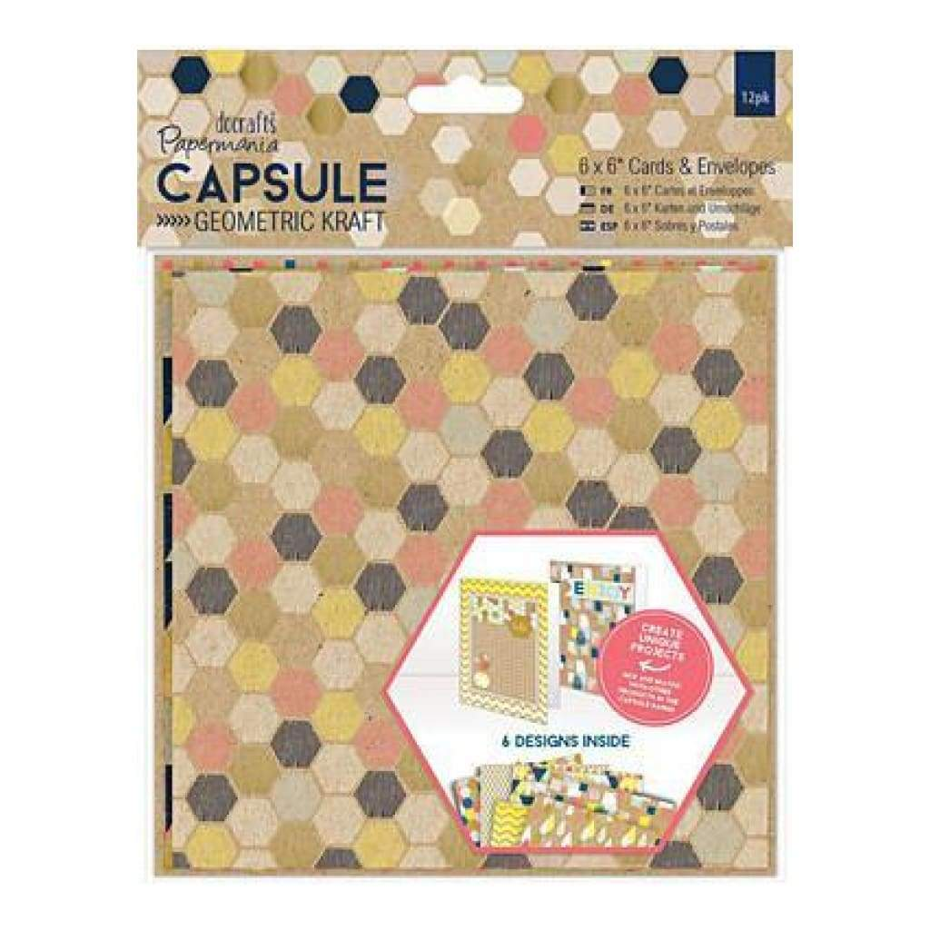 Papermania Geometric Kraft Cards With Envelopes 6In. X6in. 12 Pack