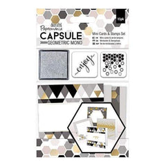 Papermania Geometric Mono Mini Cards & Stamps Set