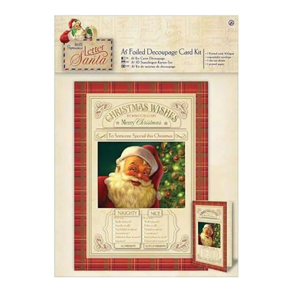 Papermania Letter To Santa A5 Decoupage Card Kit Foiled Naughty & Nice