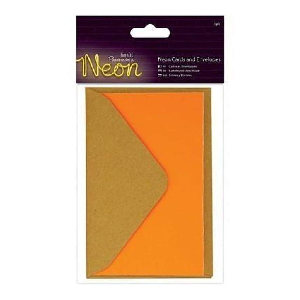Papermania Neon Cards  With Envelopes 3 Pack - Orange