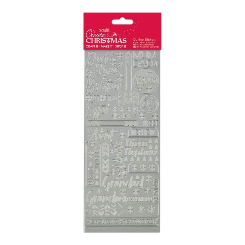 Papermania Outline Stickers Contemporary Christmas Relations-Silver