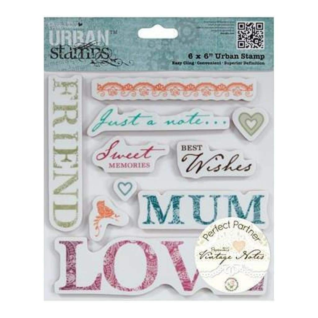 Papermania Victorian Papermania Vintage Notes Urban Stamps 6 Inch X6 Inch  Sentiments