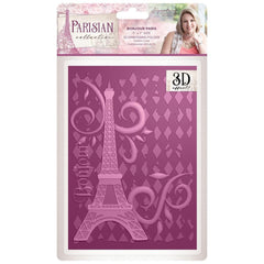 Crafters companion - Parisian Embossing Folder 5 inch X7 inch Bonjour Paris