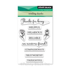 Penny Black Mini Clear Stamps - Sending Thanks 3 inch X4 inch