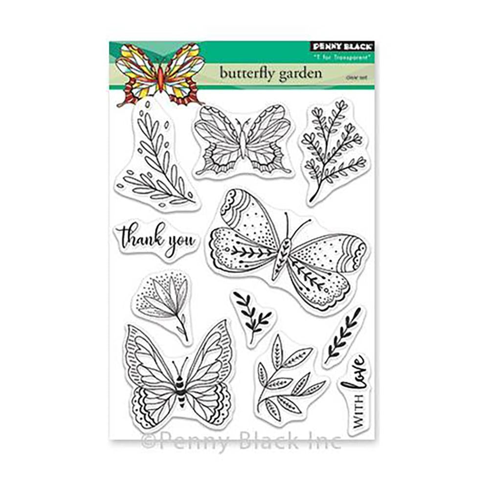 Penny Black Mini Clear Stamps - Butterfly Garden 5 inch X6.5 inch