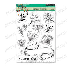 Penny Black Clear Stamps - Banner Blooms 5in x 6.5in