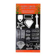 Poppy Crafts Metal Cutting Dies and Stamps Combo - Diamonds