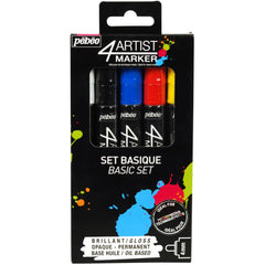 Pebeo - 4Artist Marker Set 5 pack - Basic 4mm