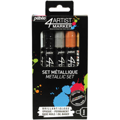 Pebeo - 4Artist Marker Set 5 pack - Metal 4mm