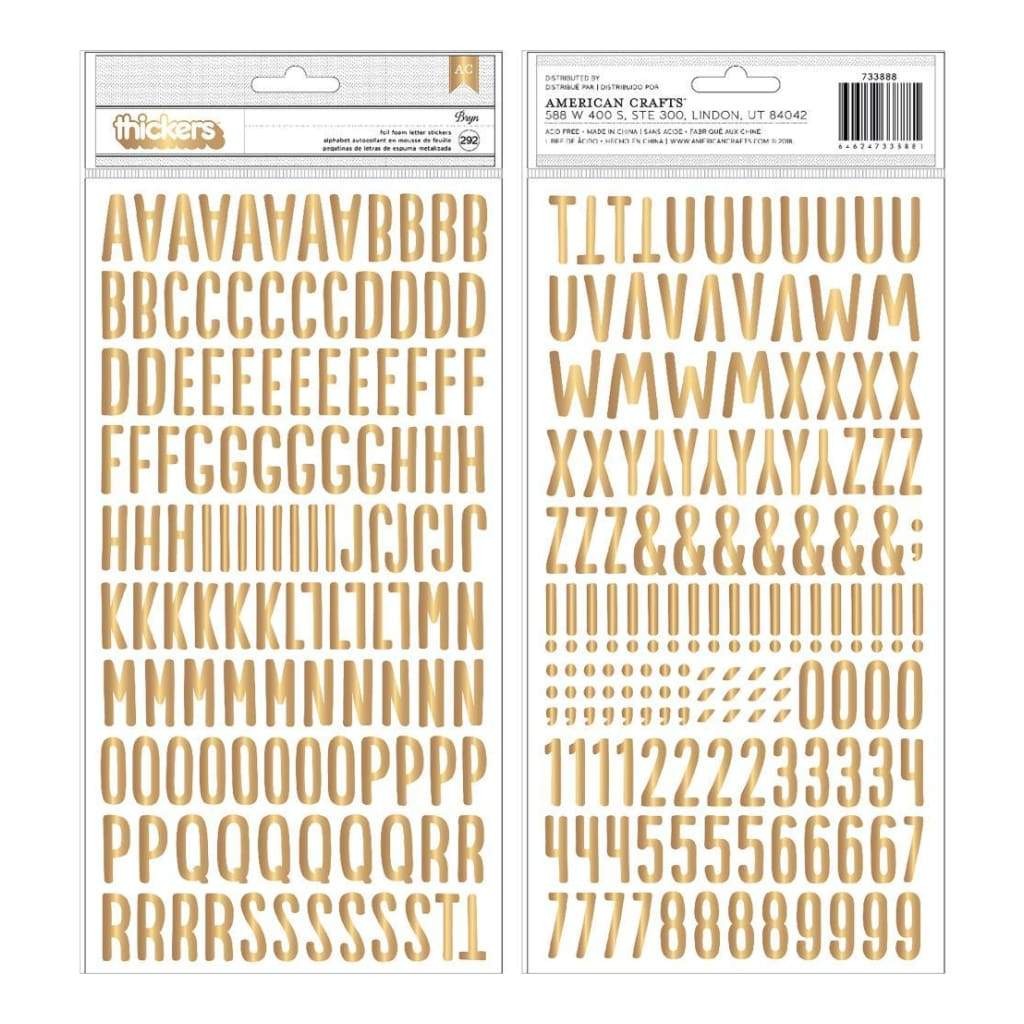 Pebbles Bright Life Collection - Stickers - Foam Alphabet with Gold Foil 292 pack