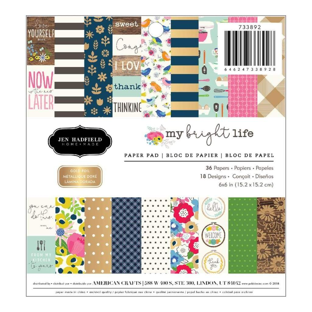 Pebbles Single-Sided Paper Pad 6 inch X6 inch 36 pack My Bright Life, 18 Designs/2 Each