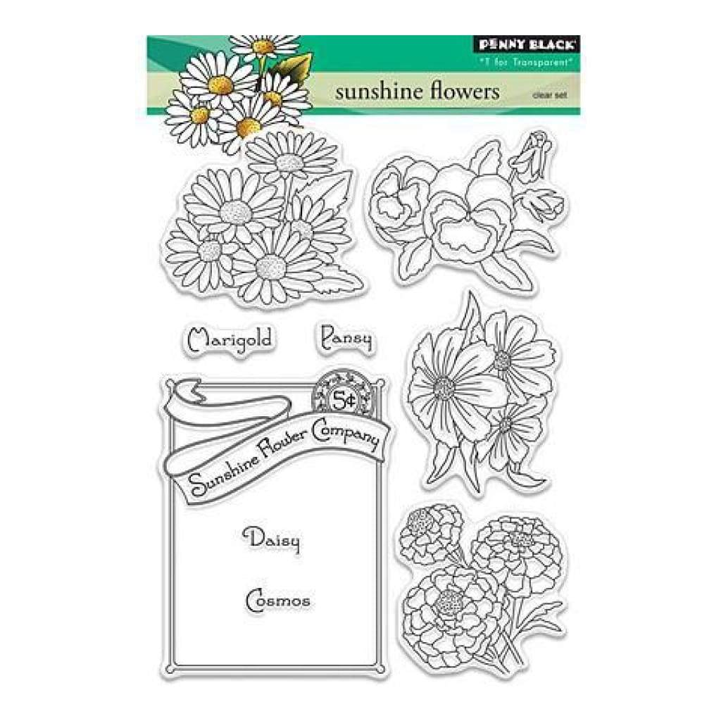 Penny Black Clear Stamps 5In. X7in. Sunshine Flowers