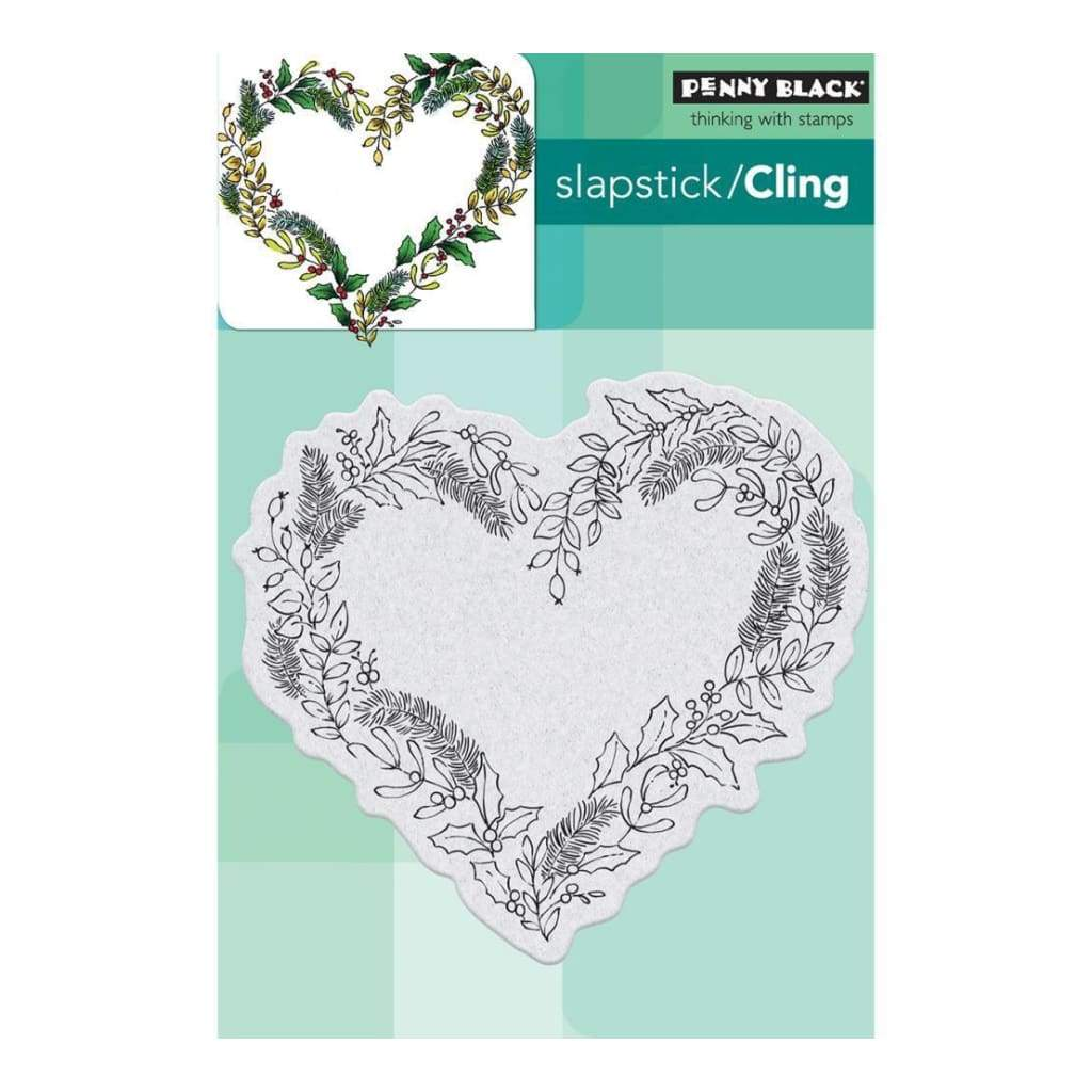 Penny Black Cling Stamp 4 inch X6 inch Heart Wreath