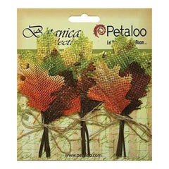 Petaloo - Botanica Fall Burlap Leaf Picks 3 Pack