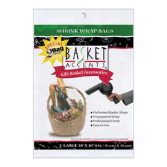 Basket Accents Shrink Wrap Bags Large 30inch X30inch 2 pack Clear
