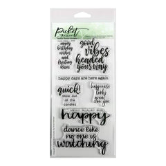 Picket Fence Studios 4 inch X8 inch  Stamp Set Good Vibes