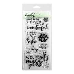 Picket Fence Studios 4 inch X8 inch  Stamp Set Simply Wonderful