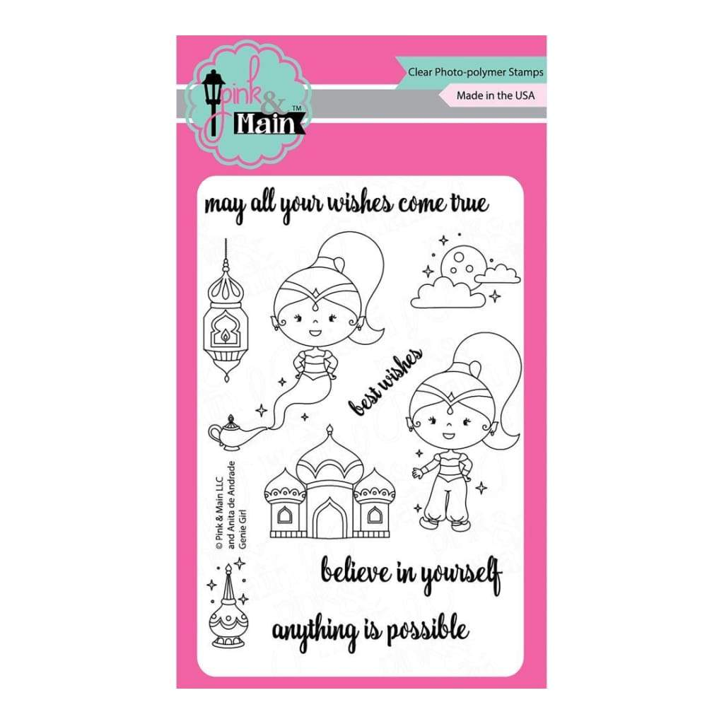 Pink & Main Clear Stamps 4 inch X6 inch Genie Girl