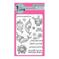 Pink & Main Clear Stamps 4 inch X6 inch Narwhals
