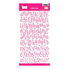 Pink Paislee - Fashion Script Alpha Stickers - Light Pink