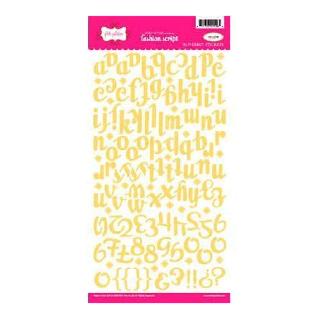 Pink Paislee - Fashion Script Alpha Stickers - Yellow