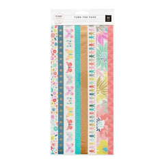 Pink Paislee - Paige Evans Turn The Page Washi Sticker Sheets 3 pack Strips with Matte Gold Foil