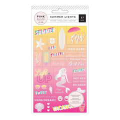 Pink Paislee Summer Lights Acetate Stickers Word Jumble with Holographic Foil