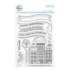 Pinkfresh Studio - Clear Stamp Set 4 inch X6 inch - A Day In The City