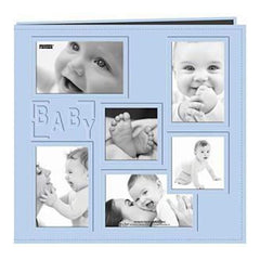 Pioneer  - Sewn Embossed Collage Frame Post Bound Album 12In. X12in.  Baby - Blue