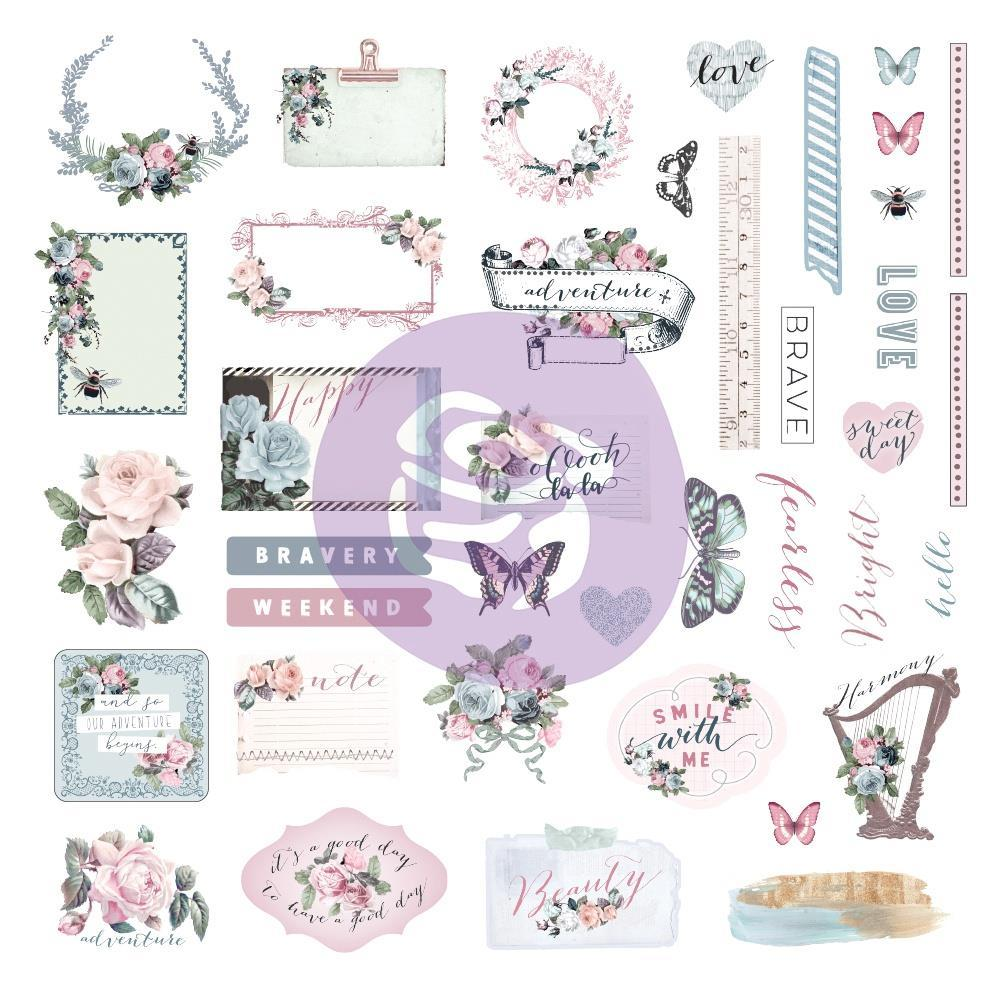 Prima Marketing Poetic Rose Ephemera Cardstock & Sticker Sheet 65 pack