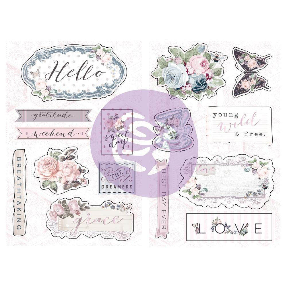 Prima Marketing Poetic Rose Chipboard Stickers 15 pack Icons with Foil Accents