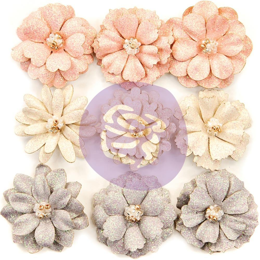 Prima Marketing Spring Farmhouse Paper Flowers 9 pack - Spring Beauties with Glitter Accents