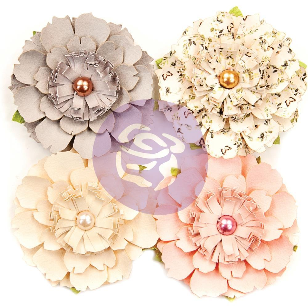 Prima Marketing Spring Farmhouse Mulberry Paper Flowers 4 pack - Heart & Home
