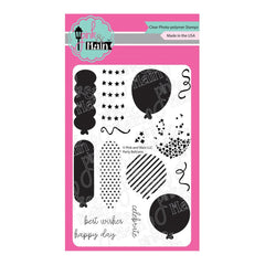 Pink & Main - Clear Stamps 4inch X6inch - Party Balloons