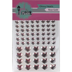Pink & Main Glossy Adhesive Enamel Hearts 68 pack Rose Gold