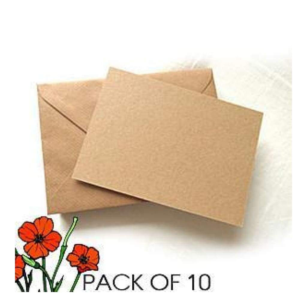 Poppy Crafts - A6 Cards And Envelopes - Kraft - 300 Gsm