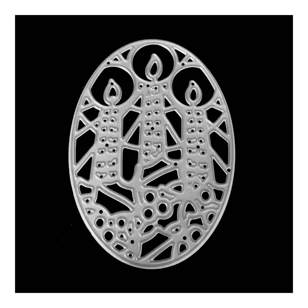 Poppy Crafts Dies - Three Candles in Ornate Oval Die Design