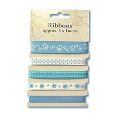 Poppy Crafts Ribbons - Blues - 5 Ribbons