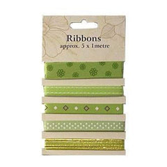 Poppy Crafts Ribbons - Greens|Limes - 5 Ribbons