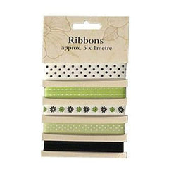 Poppy Crafts Ribbons - Greens - 5 Ribbons