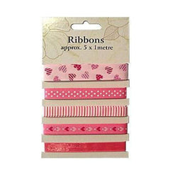 Poppy Crafts Ribbons - Pinks - 5 Ribbons